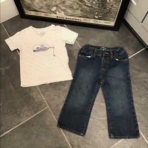 Childrens Place Blue Jean & Ship Tee Bundle 18-24M